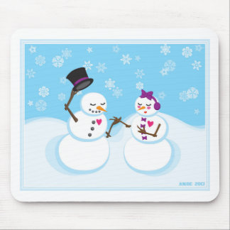 Snowman and Snowgirl Romance Mouse Pad