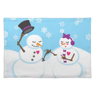 Snowman and Snowgirl Romance Placemat