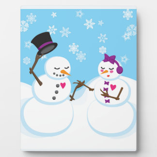 Snowman and Snowgirl Romance Plaque