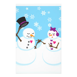 Snowman and Snowgirl Romance Stationery