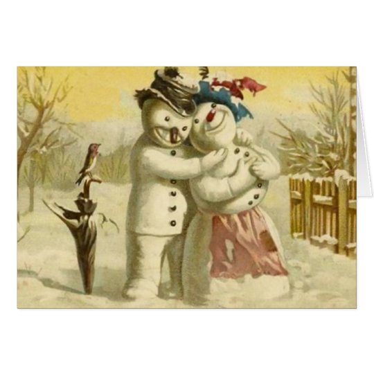 Snowman and snowwoman christmas card