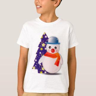 Snowman and Starred Christmas Tree Kids Shirt