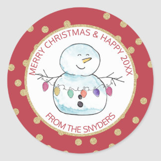 Snowman and String Lights Classic Round Sticker