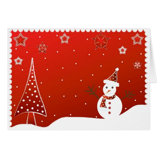 Snowman and tree - Card