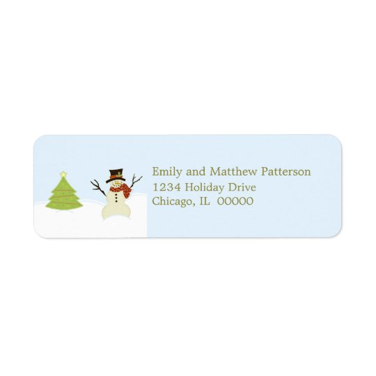 Snowman and Tree Christmas Address Labels