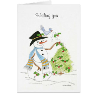 Snowman and tree with Holly Card