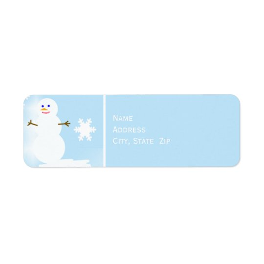 Snowman at Christmas on Blue Return Address Label