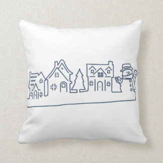 Snowman at Holy Night Pillow