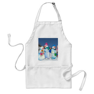 Snowman band singing on the hillside aprons