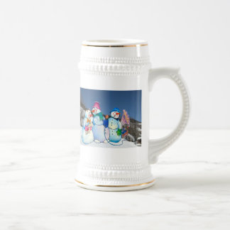 Snowman band singing on the hillside beer steins