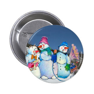 Snowman band singing on the hillside pinback buttons