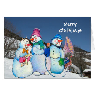 Snowman band singing on the hillside greeting card