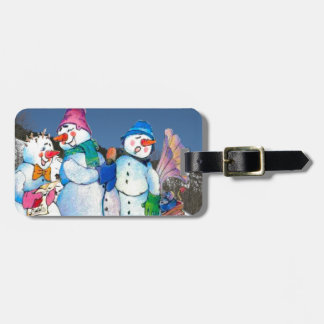 Snowman band singing on the hillside travel bag tags