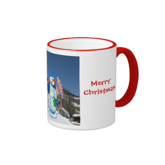 Snowman band singing on the hillside ringer mug