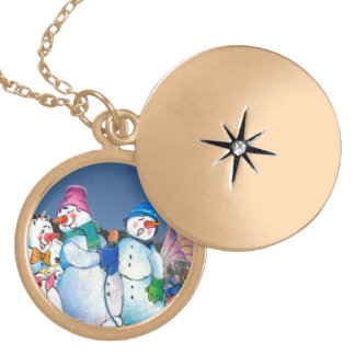 Snowman band singing on the hillside necklaces