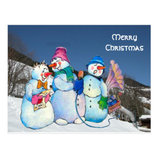 Snowman band singing on the hillside postcard