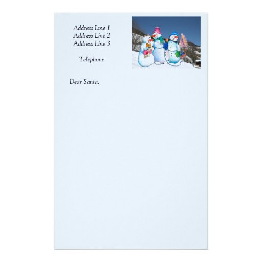 Snowman band singing on the hillside stationery