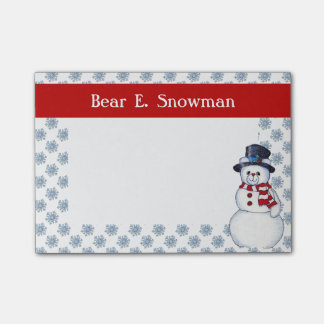 Snowman Bear Post It Notes
