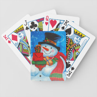 Snowman bearing Gifts Bicycle Playing Cards