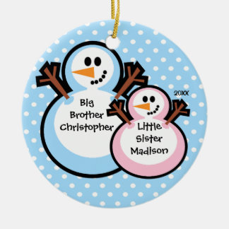 Snowman Big Brother & Lil Sis Christmas Ornament