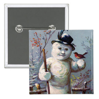 Snowman Bird Winter Snow Songbird 2 Inch Square Button