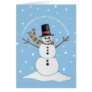 Snowman (blue background) Postage Card