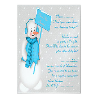 Snowman (blue) - Invitation