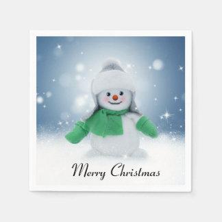 Snowman Blue Winter Merry Christmas Paper Napkins