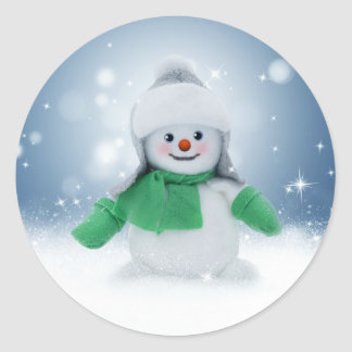 Snowman Blue Winter Merry Christmas Stickers