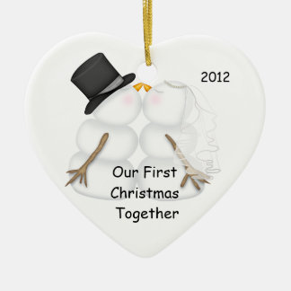 Snowman BRIDE & GROOM First Christmas Together Double-Sided Heart Ceramic Christmas Ornament
