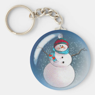 SNOWMAN BUBBLE 3 by SHARON SHARPE Basic Round Button Keychain