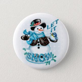 SNOWMAN BUTTON LET IT SNOW SMALL BUTTON 2¼ Inch