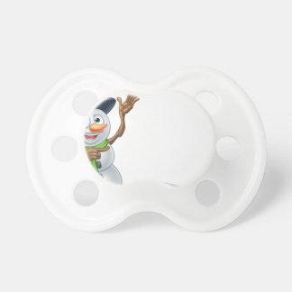 Snowman Cartoon Christmas Sign Pacifiers