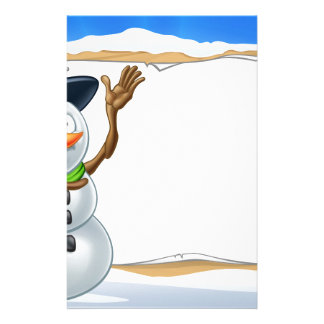 Snowman Cartoon Christmas Sign Personalized Stationery
