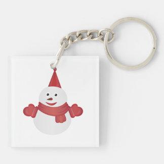 Snowman cartoon Double-Sided square acrylic keychain