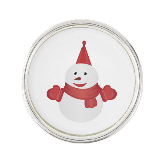Snowman cartoon lapel pin