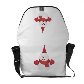 Snowman cartoon messenger bags