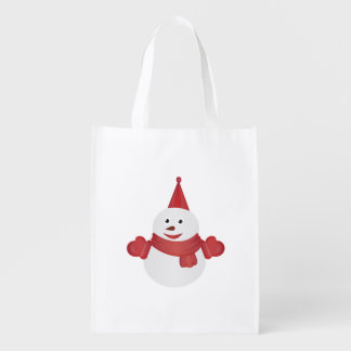 Snowman cartoon reusable grocery bag