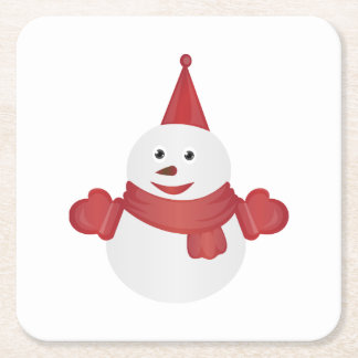 Snowman cartoon square paper coaster