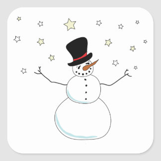 Snowman Celebration Square Sticker