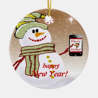 Snowman cellphone round ceramic ornament