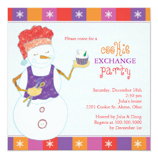 Snowman Chef Holiday Cookie Swap Party Card