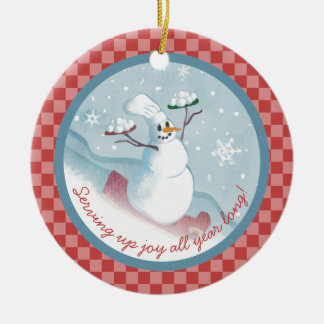 Snowman chef serving snowballs Christmas ornament