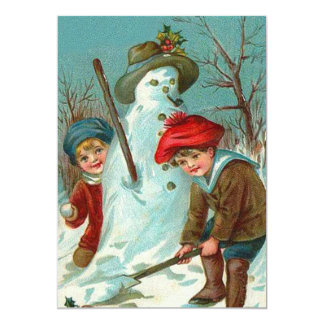 Snowman Children Snow Holly Card