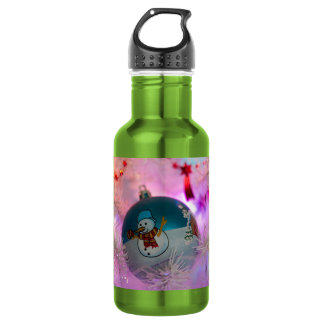 Snowman - christmas balls - merry christmas 532 ml water bottle