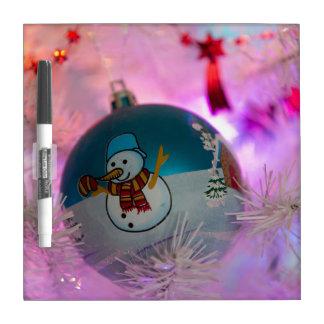 Snowman - christmas balls - merry christmas dry erase board