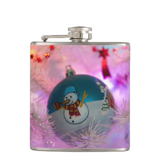 Snowman - christmas balls - merry christmas hip flask