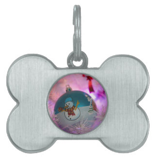 Snowman - christmas balls - merry christmas pet tag