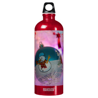 Snowman - christmas balls - merry christmas water bottle