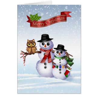 Snowman Christmas Card with Owl